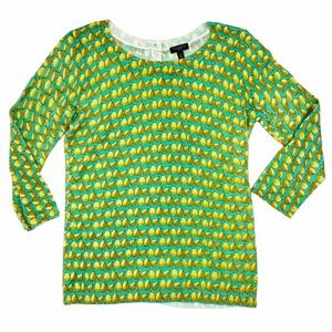 Talbots green pear back button top sweater. Petite